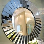 Round Abstract Bathroom Mirror