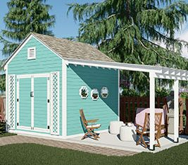 Garden shed with pergola and patio
