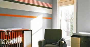orange stripe modern nursery baby room