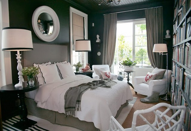 grey black and white bedroom 2017 - Grasscloth Wallpaper