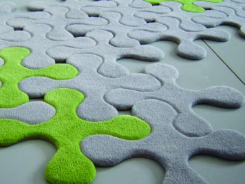 gray grey green modular jigsaw splats modern rug floor covering