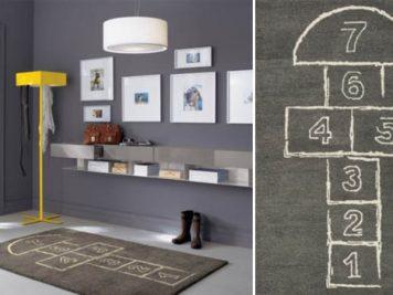 grey gray hopscotch kids bedroom novelty rug