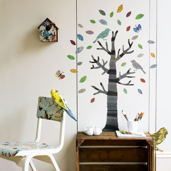 unisex boys girls kids room childrens bedroom childs bird tree vinyl fabric wall decal decoupage