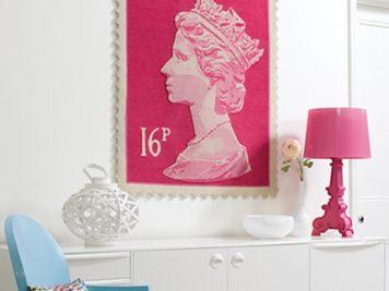 British Pink Stamp Rugs