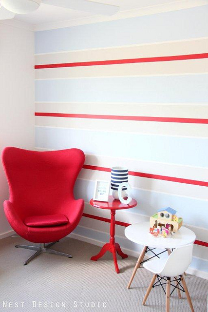 unisex boys girls kids room childrens bedroom childs red blue white stripe wall