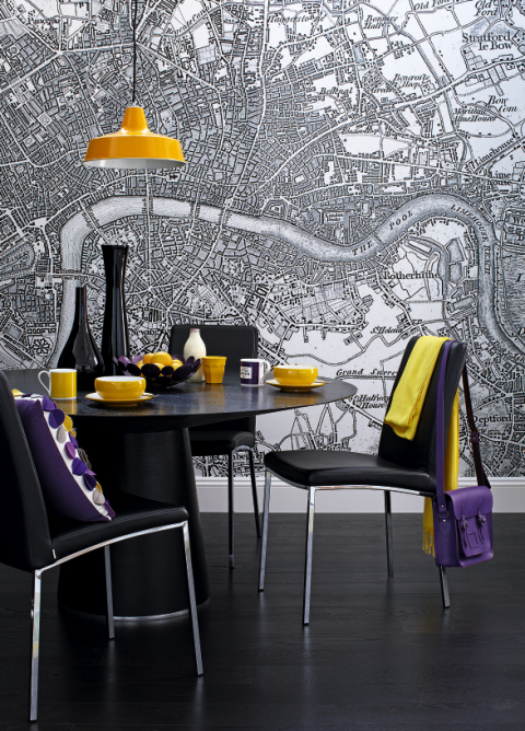 black yellow quirky dining room map wall mural