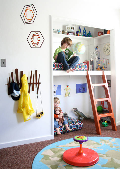 unisex boys girls kids room childrens bedroom childs geometric print bunkbeds play area