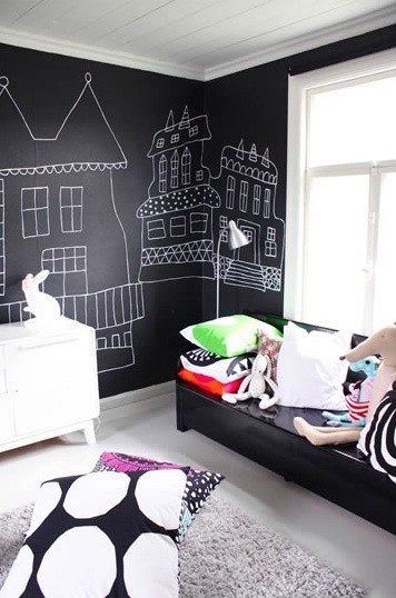 unisex boys girls kids room childrens bedroom childs black white blackboard chalkboard paint