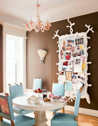 quirky brown blue pink coral dining room table set quirky notice board