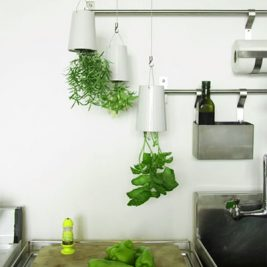 white kitchen sky planter upside down herb garden pots