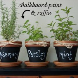 chalkboard clay pot kitchen herb garden design