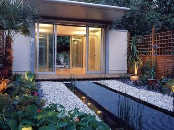 modern zen courtyard garden home office water feature