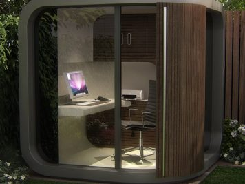 Curved garden room pod modern outside home office