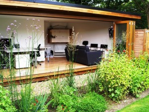 Full glass front bifold doors garden studio