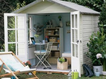 Converted potting shed outside home office