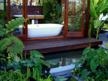 modern outdoor bathroom garden room