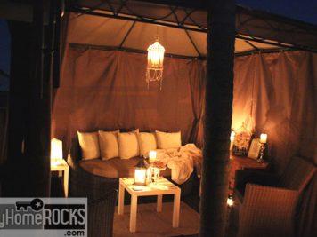 semi permanent garden room white square coffee table