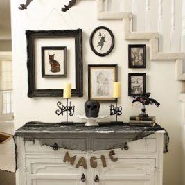 Halloween display table spooky hallway decor