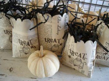 Newspaper trick or treat bags