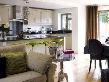 Modern open plan kitchen lounge