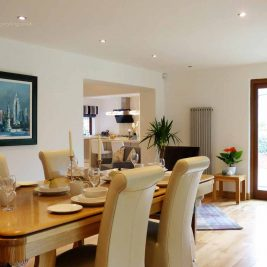Open plan living area home staging